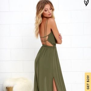 "Lulus ""lost in paradise"" olive green maxi dress"